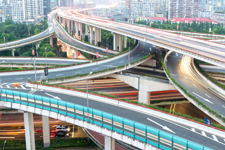 overlooking: overlooking the vehicle motion blur on shanghai elevated road junction and interchange overpass
