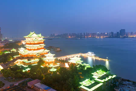 nanchang tengwang pavilion at night ,is one of chinese famous ancient building photo