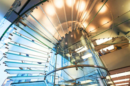 Modern Glass Staircase Silhouette of walking People in shanghai china