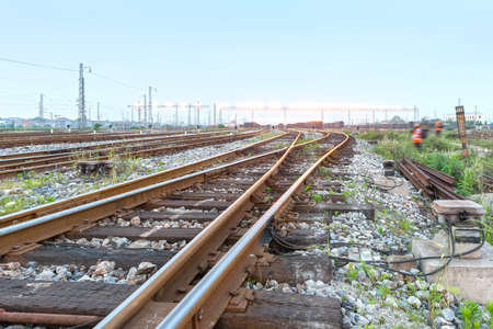 Cargo train platform with container photo