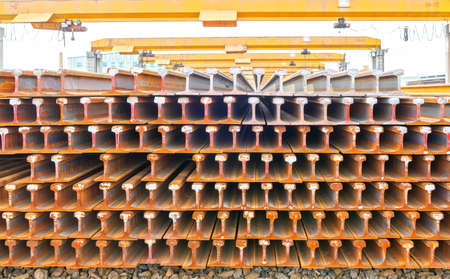 mountings: Steel pipes on the rack Stock Photo