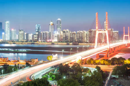 elevated: shanghai interchange overpass and elevated road in nightfall Stock Photo