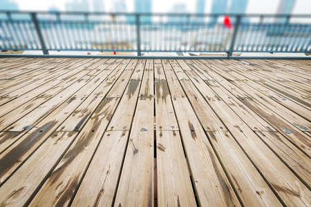 baseboard: Perspective of old used wood planks Stock Photo