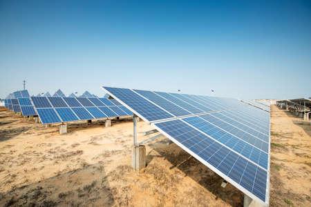 photovoltaic panel: Solar panels against blue sky