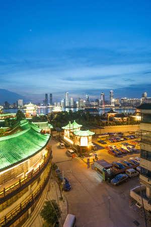 huangpu: Aerial view of chinese city,shenzhen Stock Photo