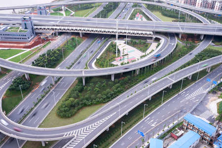 flyover: skyline and traffic,flyover in modern city