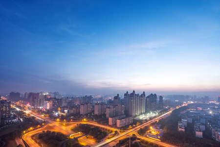 nightfall: shanghai interchange overpass and elevated road in nightfall Stock Photo