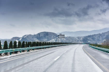 winter on highway curve