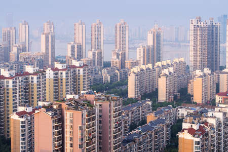 Aerial view of the urban landscape, aerial filming urban residential areas, China Nanchang.