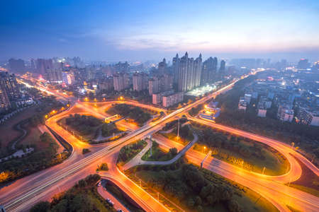 shanghai interchange overpass and elevated road in nightfall Stock fotó