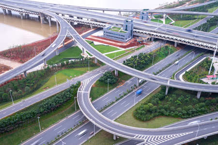 city highway interchange in shanghai on traffic rush hour