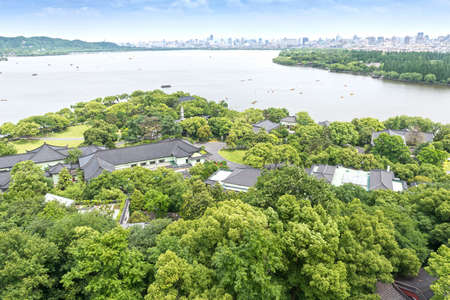 Aerial View of the West Lake and the city of Hangzhou, China