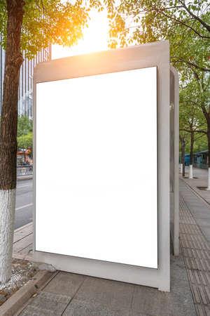 Bus stop billboard on stage Reklamní fotografie