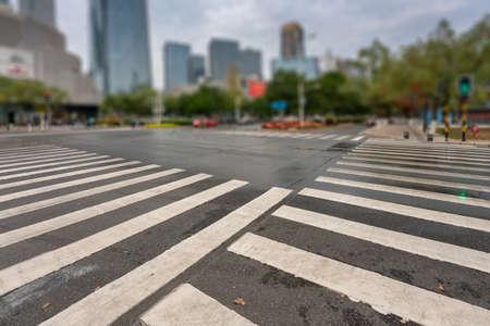 Zebra crossing on outdoor road Stock Photo