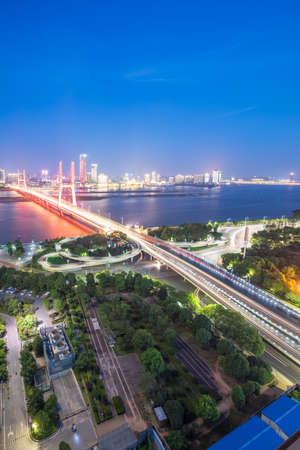 named bayi bridge in the night of shanghai china