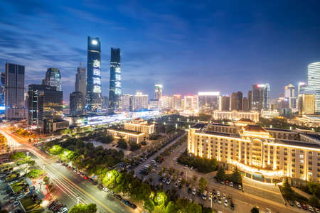 the night view of the lujiazui financial centre in shanghai china
