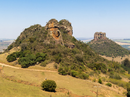 camelo and cuscuzeiro rock mountain wide angle view in a sunny day Stock Photo