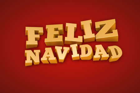 Golden Feliz Navidad  Merry Christmas in spanish  text on a red background photo