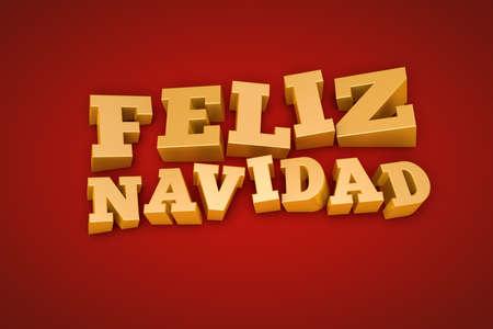 navidad navidad: Golden Feliz Navidad  Merry Christmas in spanish  text on a red background
