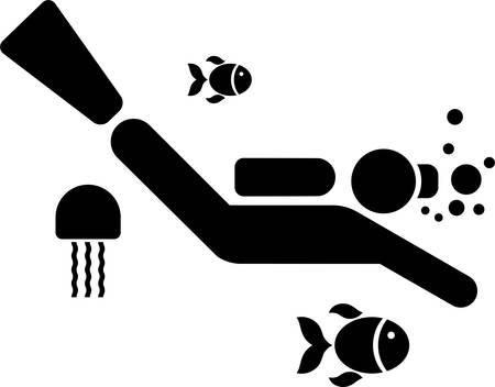 free diver: Pictogram of a Diver Illustration
