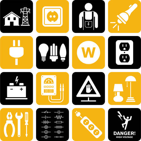 voltage danger icon: Electricity icons