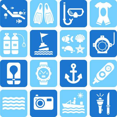 Duiken iconen Stock Illustratie