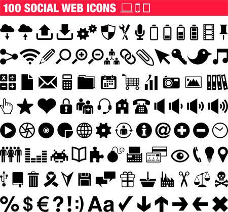 100 사회 웹 아이콘 일러스트