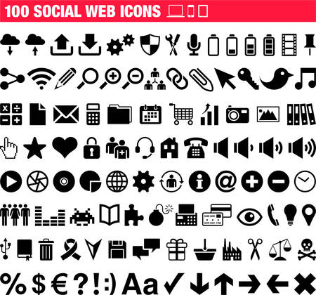 100 Social Web pictogrammen