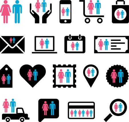 Conceptual Man Woman icons Stock Vector - 23984248