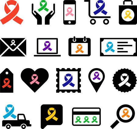 hiv ribbon: Conceptual Ribbon-Loop icons