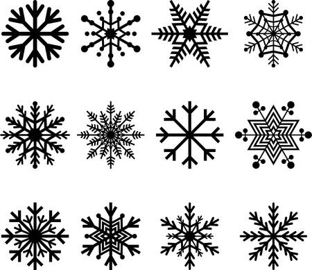 Set van abstracte sneeuwvlokken