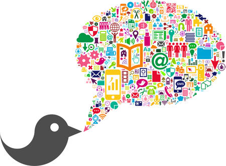 Bird and conceptual Bubble-Speech made with Social Media icons Vector