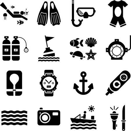 Duiken iconen Vector Illustratie