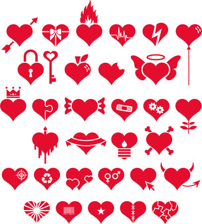 Set of conceptual Hearts Vector
