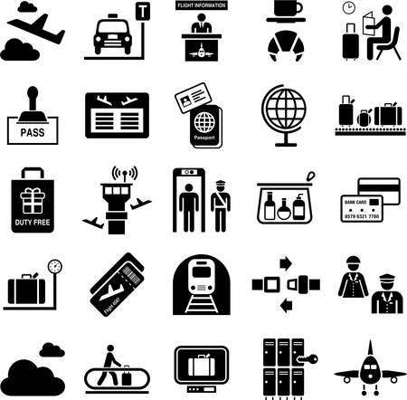 Airport icons Stock Illustratie