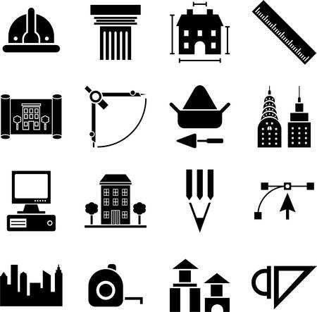 arquitecto: Arquitectura y construcción iconos Vectores