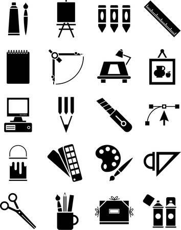 Grafisch ontwerp en beeldende kunst iconen