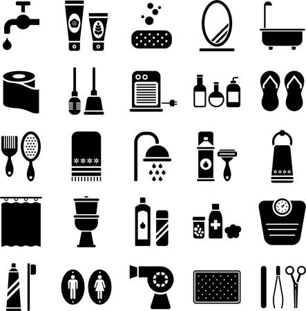 cleaning bathroom: Bathroom icons Illustration