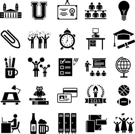 College iconen Stock Illustratie