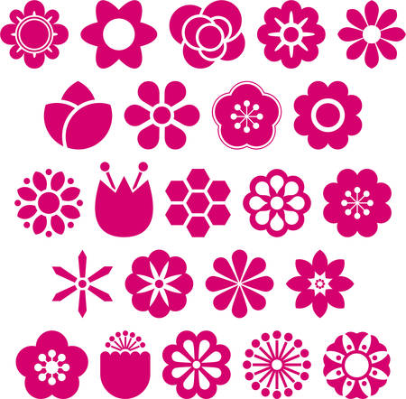abstract flowers: Set of vectorized Flowers Illustration