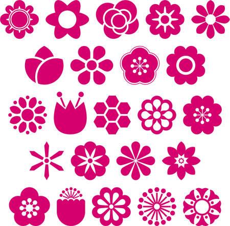 Set of vectorized Flowers Stock Illustratie