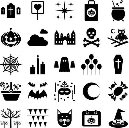 casita de dulces: Iconos de Halloween Vectores