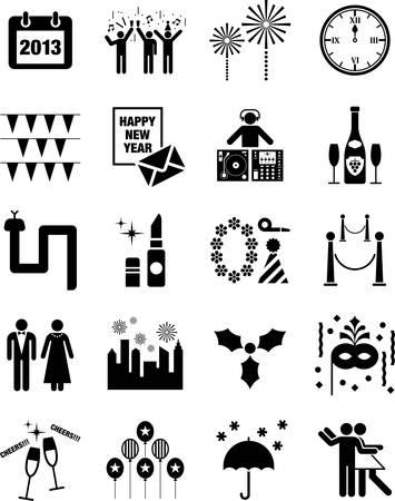 nouvel an: Happy icônes du Nouvel An
