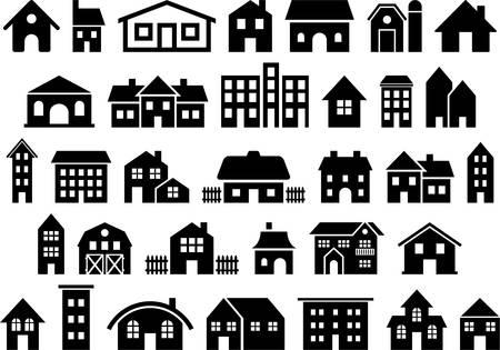 ortseingangsschild: Set vektorisiert Häuser Illustration