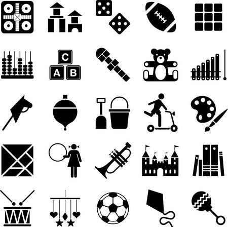 bebe a bordo: Juguetes iconos Vectores