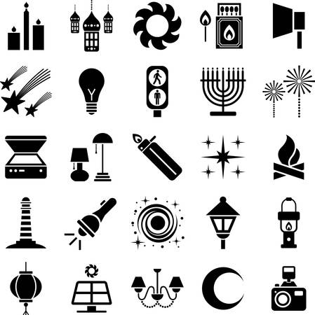 encendedores: Iconos Luz Vectores