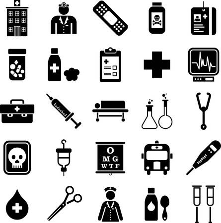 Hôpital et icônes médicaux Banque d'images - 23984267
