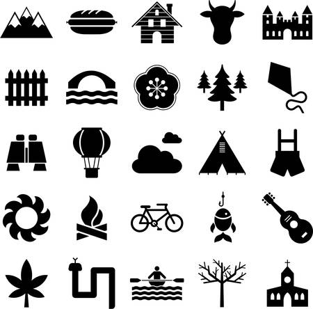 Nature, Outdoor activities Mountain and icons Vector