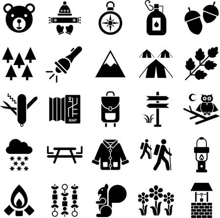 people hiking: Mountain Hike and icons Illustration