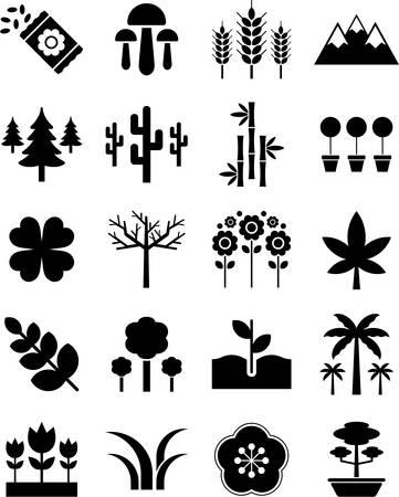 nature green: Los iconos de la naturaleza Vectores